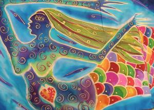 Janie Andrews mermaid silk banner