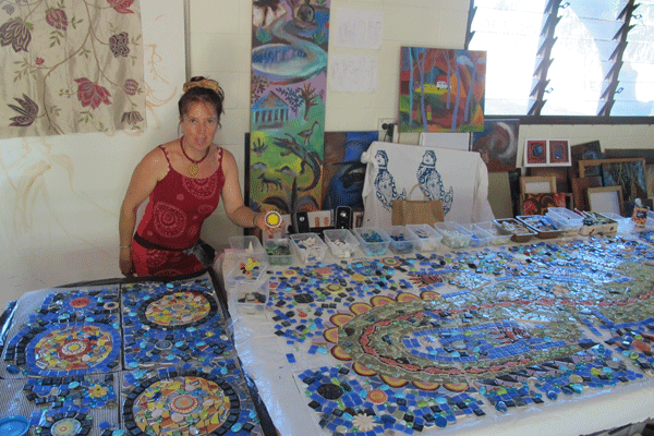 Janie Andrews at work in her studio